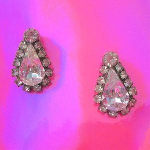 vintage jewelry teardrop rhinestone earrings